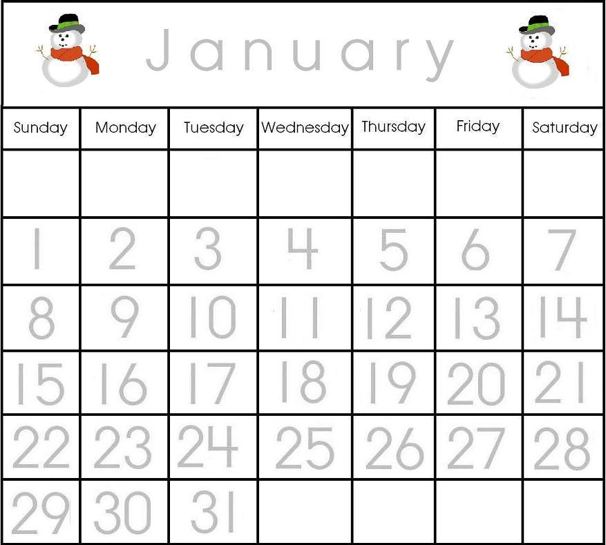 Calendar For Kindergarten Worksheets : Calendar january kindergarten new template
