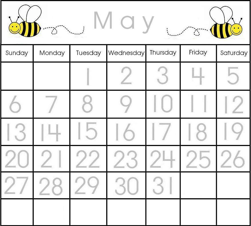 May Traceable Calendar | Printable Calendar Items | Pinterest