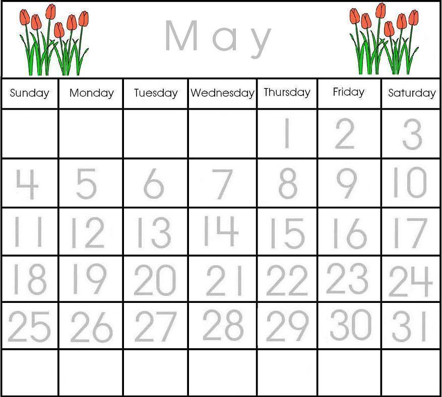 Printable Preschool Calendar Numbers