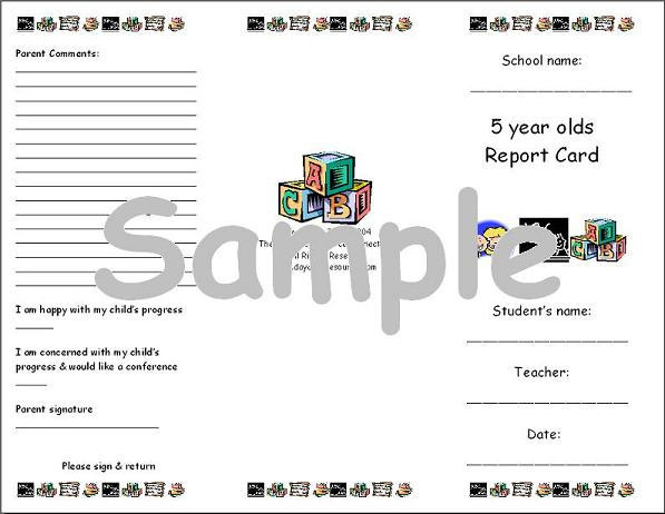 sample report cards