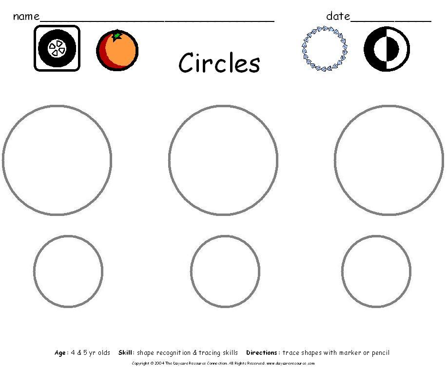 Worksheets Daycare Worksheets preschool printables worksheets circles