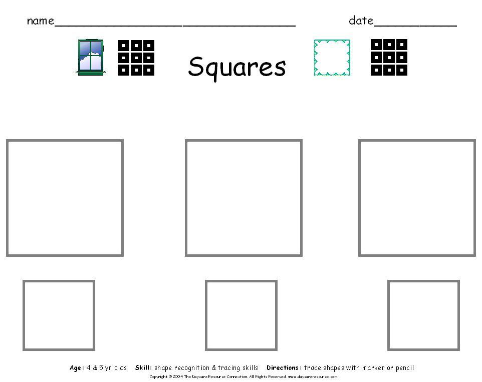 Preschool printables worksheets – Square Worksheets