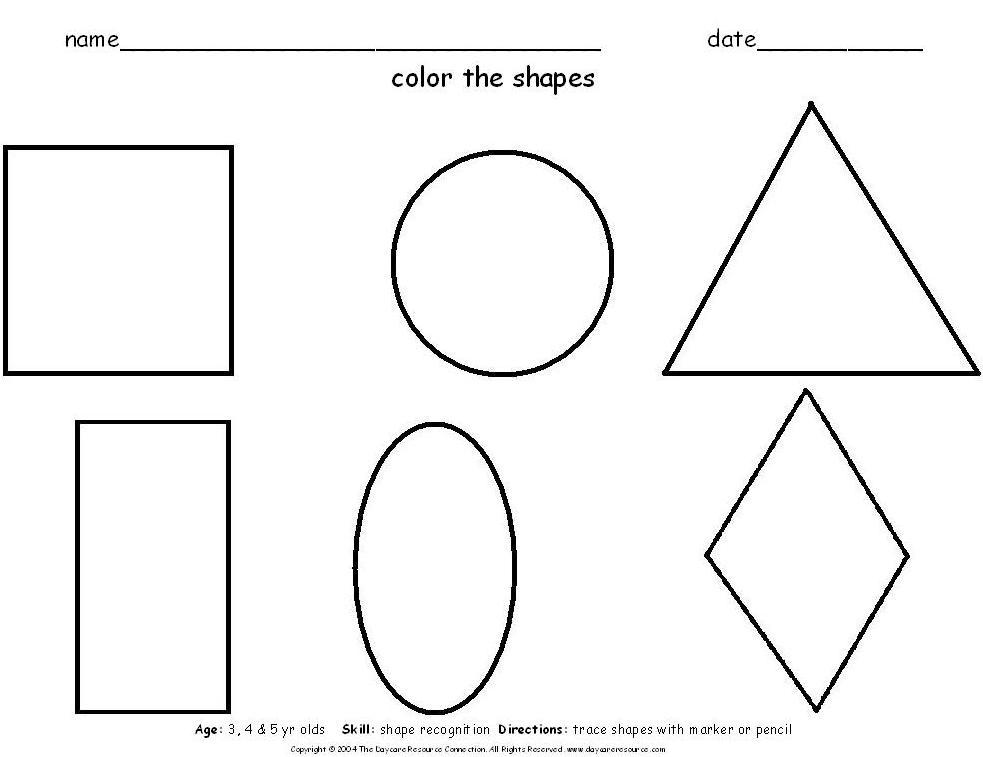 Worksheets Daycare Worksheets preschool printables worksheets color all shapes